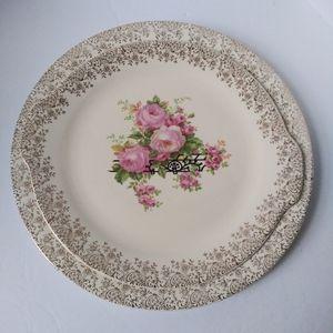 Vintage Royal China 22k gold trim serving plates